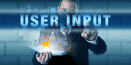 to incorporate: Corporate user is pressing USER INPUT on a virtual touch screen interface.