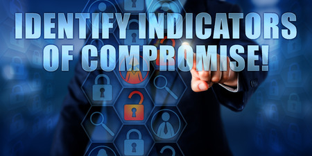 identify: Manager touching IDENTIFY INDICATORS OF COMPROMISE! on a virtual interactive screen.