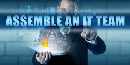 assemble: IT solutions provider pressing ASSEMBLE AN IT TEAM on a virtual visual display.