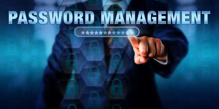 password: Corporate administrator is touching PASSWORD MANAGEMENT on an interactive virtual screen. Information technology concept for access control via organized management of user authentication.