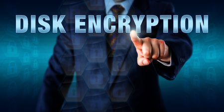decipher: Corporate network administrator is touching DISK ENCRYPTION on a virtual screen.