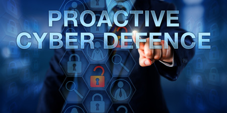 deter: Investigator is touching PROACTIVE CYBER DEFENSE on a virtual interactive screen. Stock Photo