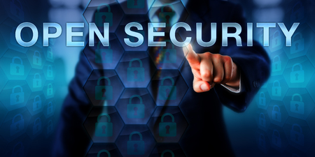 legitimate: Administrator is pressing OPEN SECURITY on a virtual interactive touch screen. Stock Photo