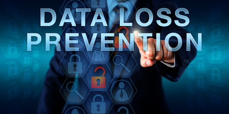 data loss: Administrator is pushing DATA LOSS PREVENTION on an interactive virtual touch screen.