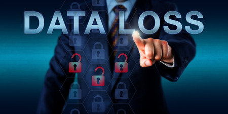 data loss: Network administrator is pressing DATA LOSS on a touch screen interface. Stock Photo