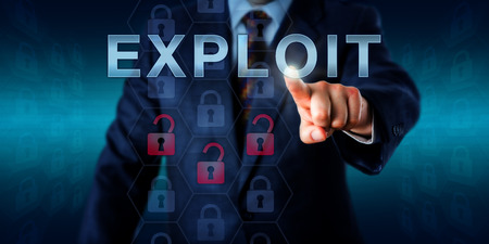 exploit: Network administrator touching EXPLOIT on an interactive screen. Stock Photo