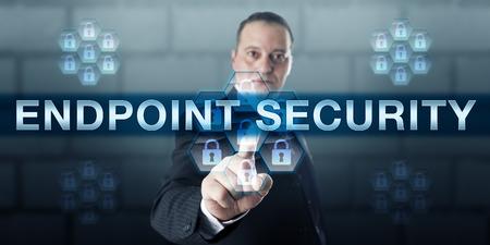 Manager is duwen Endpoint Security op een virtuele touch screen interface.