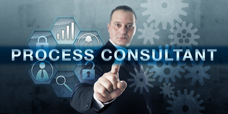 Qualified professional is pushing PROCESS CONSULTANT on a visual touch screen display.