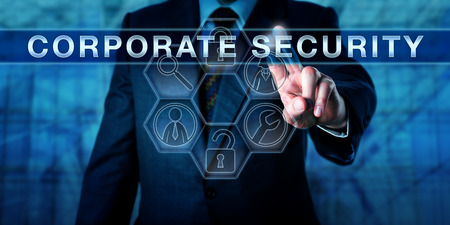 business security: Business manager is touching CORPORATE SECURITY on a virtual interactive control screen. Information technology metaphor and physical security concept. Symmetrical composition with tool icons.