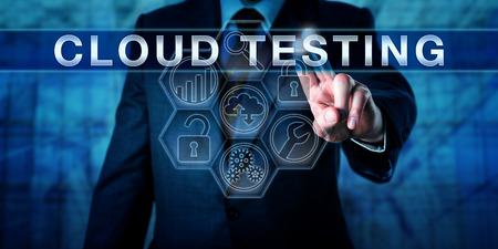 simulate: Manager is pushing CLOUD TESTING on an interactive virtual touch screen interface. Business metaphor and information technology concept for successful tests of software via cloud infrastructure. Stock Photo