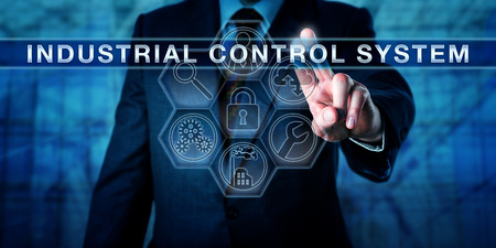 supervisory: Manager is pushing INDUSTRIAL CONTROL SYSTEM on an interactive virtual touch screen. Industry metaphor and business and computing concept for embedded control of industrial processes. Stock Photo