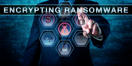ransom: Male malware operator is touching ENCRYPTING RANSOMWARE on a virtual control screen. Computer security concept for a malware attack that is restricting file access via encryption to extort a ransom.
