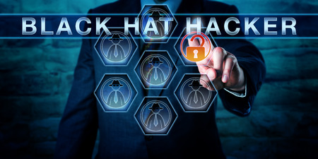 white collar crime: Businessman pushing BLACK HAT HACKER on an interactive virtual touch screen interface. Computer security metaphor and cybersecurity concept for a computer criminal gaining unauthorized data access.