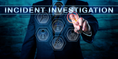 Cyber specialist is pushing INCIDENT INVESTIGATION on an interactive touch screen interface. Business metaphor and information technology concept for a computer forensics investigative process. Archivio Fotografico