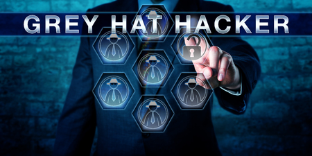 expose: Cyber security manager touching GREY HAT HACKER on a control interface. British English spelling of the word grey. Computer security concept for a cracker hacking to expose and fix security flaws. Stock Photo