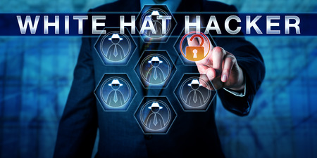 Blue team manager appuyant sur WHITE HAT HACKER sur un écran de contrôle virtuel interactif. Métaphore de cybersécurité et concept de technologie de l'information pour un hacker informatique éthique travaillant dans des équipes bleues. Banque d'images - 60454569