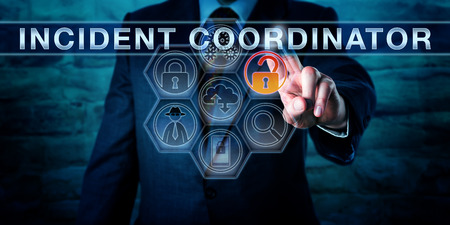 incident: Manager is pressing INCIDENT COORDINATOR on a virtual screen with forensic tool icons. Business metaphor, cyber security and information technology concept for a person managing an incident response. Stock Photo