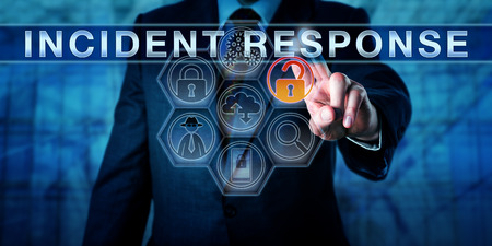 detect: Incident coordinator pressing INCIDENT RESPONSE on an interactive touch screen. Computer security concept. Man in blue suit is highlighting an open lock among forensic tool icons signifying a breach. Stock Photo