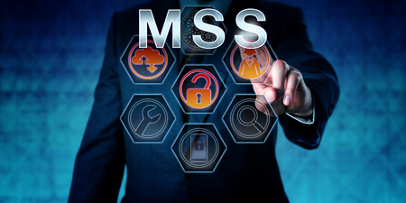 service providers: IT security expert touching MSS on an interactive virtual control screen. Business risk metaphor and computer network security concept for Managed Security Services outsourced to service providers.