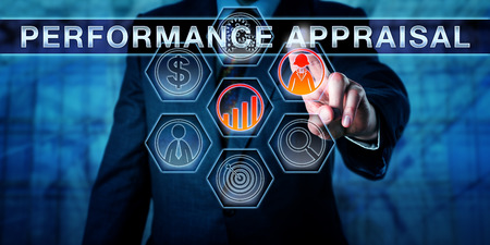Corporate manager is pressing PERFORMANCE APPRAISAL on an interactive touch screen interface. Business process concept for performance review, employee appraisal and career development discussion.