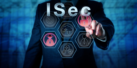 protection concept: Corporate cyber security expert pressing ISec on interactive touch screen interface. Business and information technology concept for information security and protection from malicious cyber attacks.