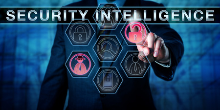 cyberwarfare: Corporate manager touching SECURITY INTELLIGENCE on a virtual interactive control display. Business metaphor and cyber security concept for counter measures and expertise to protect valuable assets.