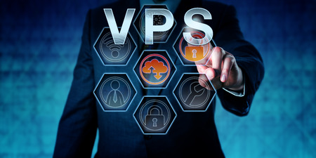 virtualization: Corporate service provider is pressing VPS on virtual interactive touch screen interface. Business metaphor. Web hosting and computer network security concept for server virtualization. Stock Photo