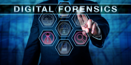 Male cyber crime investigator pressing DIGITAL FORENSICS on an interactive touch screen monitor. Investigative concept for computer forensics, network forensics and the electronic discovery process.