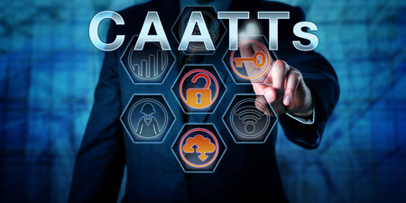 ongoing: Male state regulator or corporate auditor is touching CAATTs on an interactive virtual control monitor. Business risk metaphor and IT concept for Computer-Assisted Audit Tools and Techniques.
