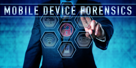 information technology law: Examiner pressing MOBILE DEVICE FORENSICS on an interactive touch screen. Information technology metaphor and law enforcement concept for a form of digital forensics focused on mobile devices.
