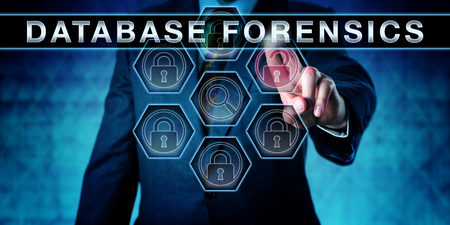 forensic science: Investigator touching DATABASE FORENSICS on an interactive virtual control monitor. Forensic science metaphor and law enforcement concept for forensically information gathering in digital data sets. Stock Photo