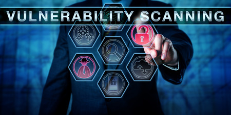Corporate IT manager touching VULNERABILITY SCANNING on an interactive control screen. Business metaphor for auditing requirements. Network security concept for regular system check for weaknesses.