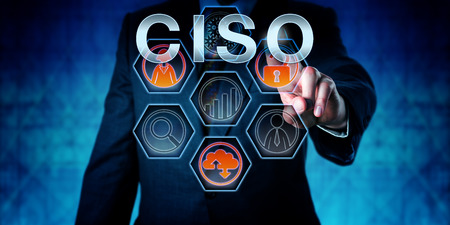 Male corporate executive touching CISO on an interactive virtual control monitor. Business management occupation metaphor  and information technology concept for Chief Information Security Officer. Stockfoto