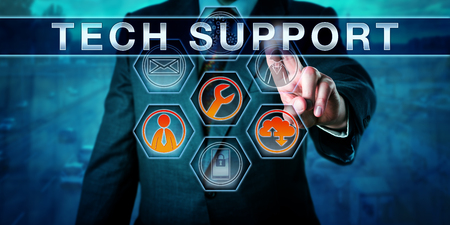 Corporate customer is pushing TECH SUPPORT on an interactive virtual touch screen interface. Business metaphor involving help desk, remote desktop, outsourcing and customer experience management. Фото со стока