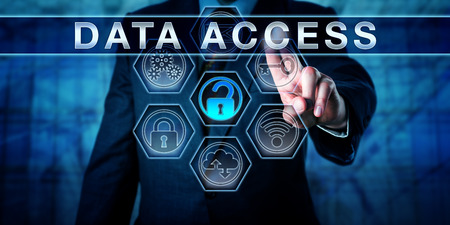 logon: Enterprise manager pressing DATA ACCESS on interactive virtual touch screen display. Business metaphor and information security concept for access control, identity management and perimeter security.