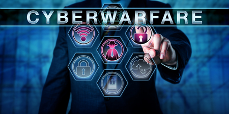 cyberwarfare: Torso of a businessman in blue suit is reaching with his left hand to activate the technical term CYBERWARFARE. An opened padlock, a black hat hacker and a wireless symbol are lighting up in purple. Stock Photo