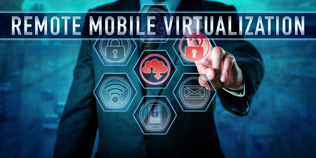 virtualization: Male corporate user is pushing REMOTE MOBILE VIRTUALIZATION on an interactive virtual touch screen monitor. Business metaphor and information technology concept for centralized computing practices.