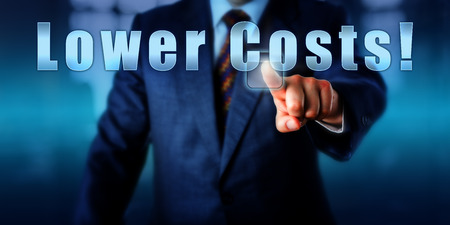 resourceful: Business manager is touching Lower Costs! on an interactive control monitor. Call to action, business objective concept and controlling metaphor. Close up shot of male torso in business suit.