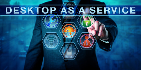 centralized: Corporate user pressing DESKTOP AS A SERVICE on an interactive touch screen interface. Information technology concept for remote desktop, centralized computing and virtualization. Business metaphor.