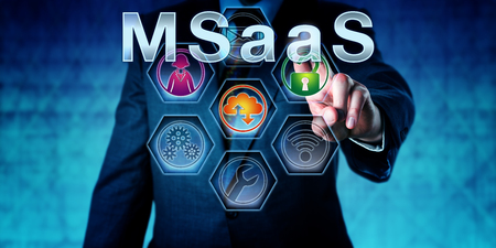 ongoing: Business manager pushing MSaaS on a monitor. Business concept and information technology metaphor for Managed Software as a Service. Support staff, cloud computing and security icon activated.