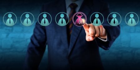 identifies: Corporate security manager identifies a potential insider threat in a line-up of eight white collar workers. Hacker or spy icon lights up purple. Cybersecurity and human resources challenge concept. Stock Photo