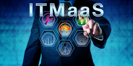 nomenclature: Enterprise executive is pressing ITMaaS on an interactive touch screen. Technology nomenclature and acronym for Information Technology Management as a Service. IT infrastructure concept. Close up.