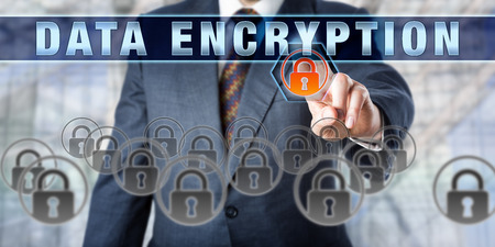 encode: Corporate manager pressing DATA ENCRYPTION on an interactive virtual screen. Business metaphor and information technology concept for cryptography, data protection and confidentiality of information.