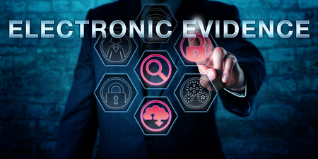 information technology law: Male forensic examiner is pushing ELECTRONIC EVIDENCE on an interactive touch screen. Information technology concept. Business metaphor for evidence law, computer law and digital forensics.