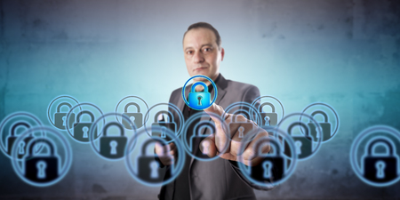 virtualization: Business manager with positive face is picking one virtual lock icon among a crowd of multiples. Information technology concept for virtualization, data privacy, and information security management.