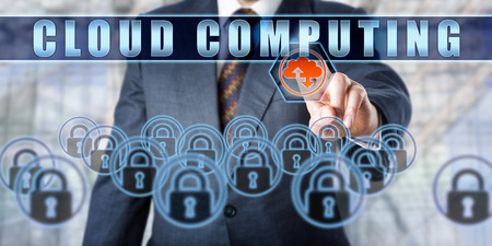 cloud based: Manager is touching CLOUD COMPUTING on an interactive control screen. Business services metaphor. Information technology concept for internet based on-demand computing enabled by shared resources.