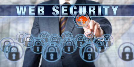 web security: Business executive is pushing WEB SECURITY on an interactive touch screen interface. Business metaphor. Information technology concept for internet security and protection of data transfer. Stock Photo