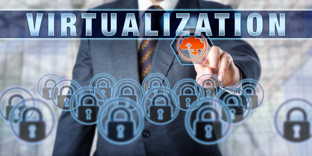 virtualization: Enterprise client is touching VIRTUALIZATION on an interactive control screen. Business services metaphor. Computing terminology and information technology concept for virtual storage solutions.