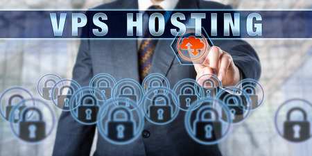 Corporate customer is pushing VPS HOSTING on an interactive visual display. Business services metaphor and computer network security concept. Acronym for Virtual Private Server Hosting.