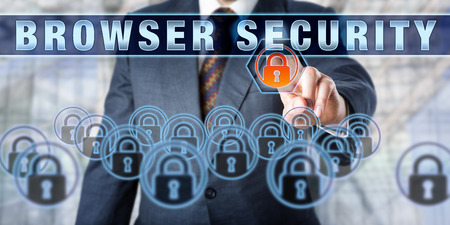 web security: Corporate manager is pressing BROWSER SECURITY on an interactive touch screen. Business challenge metaphor. Information technology concept for computer network security and web security. Stock Photo